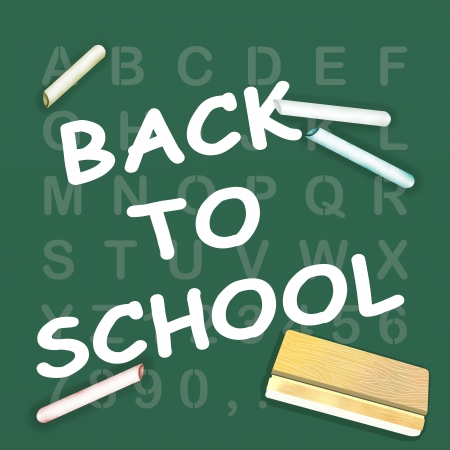 The Words Back to School written on An Alphabet Blackboard with Various Colors Chalks and Eraser  photo