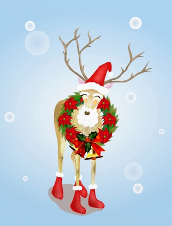 Cute Deer, Wearing Santa Hat and Christmas Stocking Decorated with Christmas Wreath Standing Outside in The Snow   photo