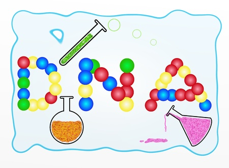 cartoon atom: The Words DNA Build From Green, Blue, Red and Yellow Balls with Laboratory Equipment, For Chemistry or Science Classroom
