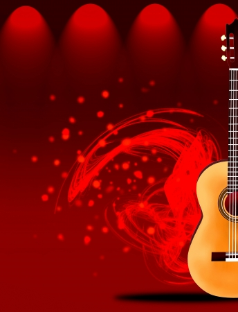 classical theater: Hand Drawing of A Beautiful Classical Guitar on Red Elegant Theater Stage Lighting, with Abstract Music Background