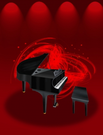 Hand Drawing of A Beautiful Grand Piano on Red Elegant Theater Stage Lighting, with Abstract Music Background  photo