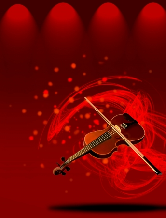 Hand Drawing of A Beautiful Violin on Red Elegant Theater Stage Lighting, with Abstract Music Background  photo