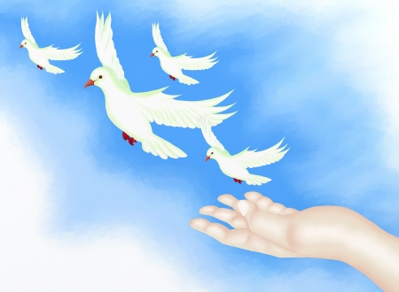 releasing: Hand Drawing, Open Hand Releasing Four White Doves Flying to The Freedom in Clear Blue Sky