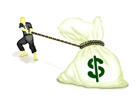 Concept d'affaires, Homme d'affaires tirant un sac d'argent isol� sur fond blanc