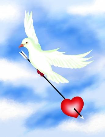 Amor Sinal, pombos brancos que voam no céu e levando uma seta Penetrante Um Coração