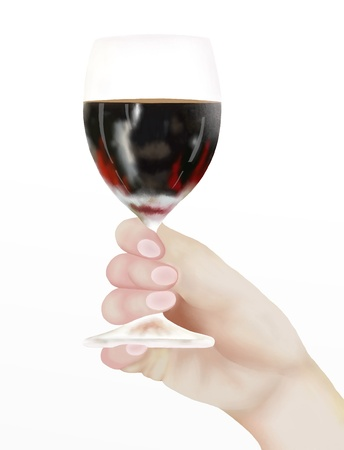 half full: Hand Drawing, Person Holding A Half Full Glass of Red Wine to Inspect at A Tasting, Isolated on White Background