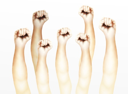 defiance: Seven Clenched Fists Raised Up in The Air, Showing Success, Victory, Harmony or Defiance   Stock Photo