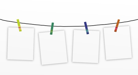 Hand Drawing of Four Blank Notes Hanging on Four Colour of Clothespins, Isolated on A White Background   Stock Photo - 15359197