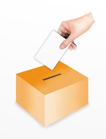 정치 권력, 손 흰색 배경에 고립 된 그들의 투표를 위해 상자의 슬롯에 투표 투표 용지 넣기