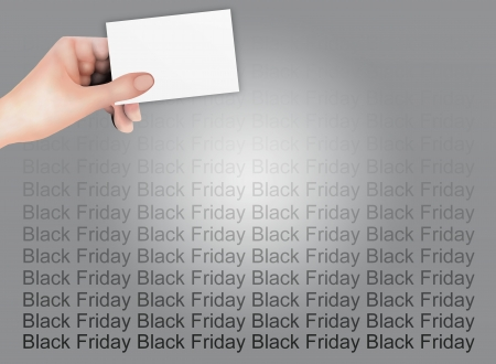 Person Holding A Blank Business Card on Black Friday Background, Sign for Start Christmas Shopping Season   Stock Photo - 15482890