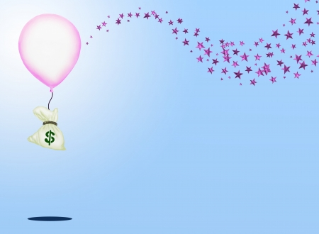 Business Concept   A Bag of Money Flying Up by A Big Pink Balloon with Sparking Pink Star on Light Blue Background   photo