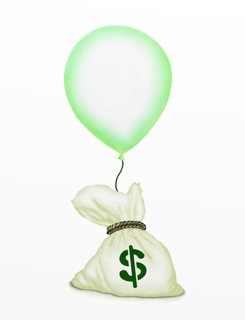 Business Concept   Light Green Flying Balloons Lifting A Bag of Money in The Air, Isolated on White Background   photo
