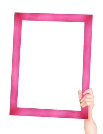 Hand Drawing, Human Hand Holding an Empty Pink Picture Frame with Copy Space for Your Content or Picture  Stock Photo - 15618199