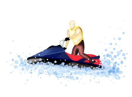 water splash isolated on white background: Hand Drawing, Man Riding A Jet Boat Blasting Through A Wave on A Nice Summer day