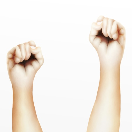 Two Clenched Fists Raised Up in The Air, Showing Success, Victory, Harmony or Defiance Stock Photo - 15618206