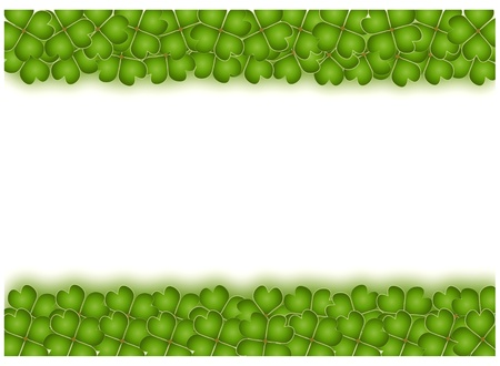 A Beautiful Horizontal Frame of Green Lucky Four Leaf Clovers Stock Photo - 15892238