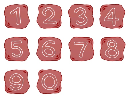 ordinal: Alphabet Numbers, A Reddish Brown of Rock Art with White of Arabic Numbers Zero to Nine, Isolated on White Background