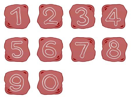 Ordinal: Alphabet Zahlen, eine rotbraune of Rock Art mit wei�en arabischen Zahlen Null bis Neun, auf wei�em Hintergrund
