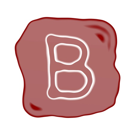 A Reddish Brown of Rock Art with White Letter of The Alphabet B, Isolated on White Background  photo