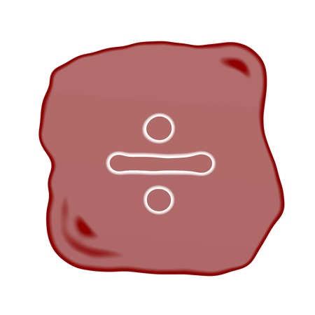 ordinal: Mathematical Symbol, A Reddish Brown of Rock Art with A White Division Symbol Isolated on White Background