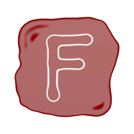 A Reddish Brown of Rock Art with White Letter of The Alphabet F, Isolated on White Background Stock Photo - 15892188