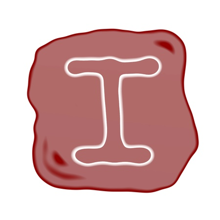 typewriter key: A Reddish Brown of Rock Art with White Letter of The Alphabet I, Isolated on White Background
