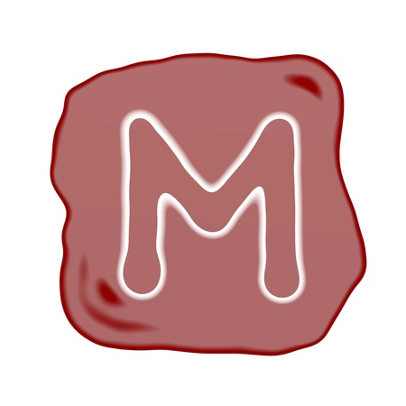 A Reddish Brown of Rock Art with White Letter of The Alphabet M, Isolated on White Background Stock Photo - 15892213