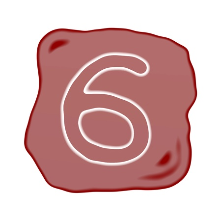 arabic number: A Reddish Brown of Rock Art with White Arabic Number Six, Isolated on White Background