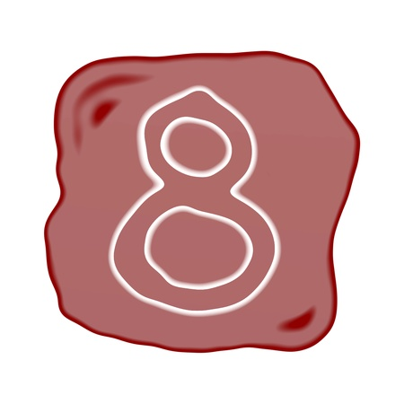arabic number: A Reddish Brown of Rock Art with White Arabic Number Eight, Isolated on White Background   Stock Photo