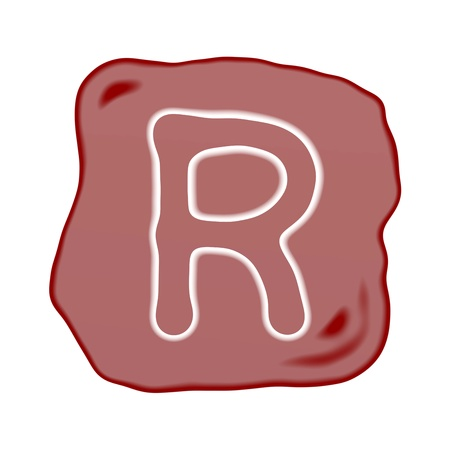 key words art: A Reddish Brown of Rock Art with White Letter of The Alphabet R, Isolated on White Background