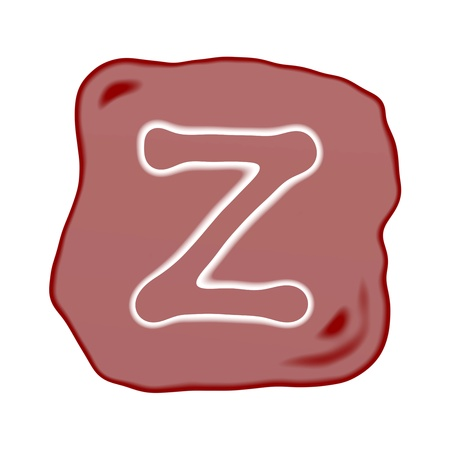 key words  art: A Reddish Brown of Rock Art with White Letter of The Alphabet Z, Isolated on White Background