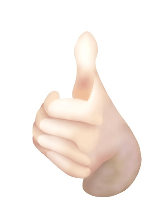 Front View of Human Hand Showing Thumbs Up for Like, Success or Achievement Signals, Isolated on White Background
