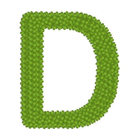 Letter D, Alphabet Letters Made of Four Leaf Clover Isolated on White Background Stock Photo - 16010849