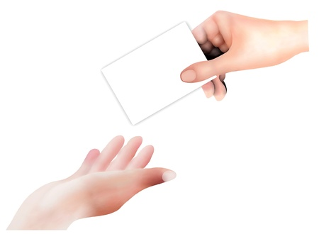 reaches: Hand Drawing, Person Open A Hand in The Air Receive An Empty Card From A Business Man Isolated on White Background