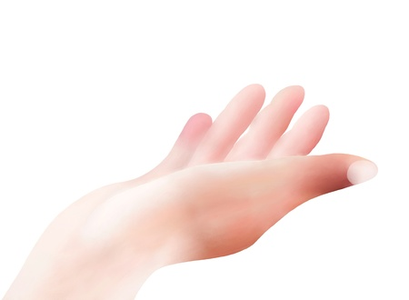 Hand Drawing, An Open Empty Hand Reaches Out Against An Isolated White Background Stock Photo - 16010931