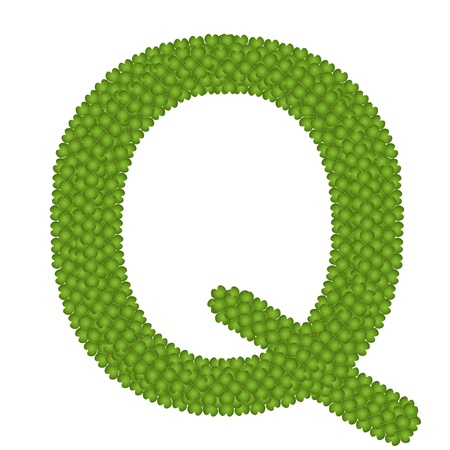 Letter Q, Alphabet Letters Made of Four Leaf Clover Isolated on White Background Stock Photo - 16010852