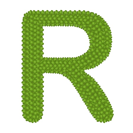 typewriter key: Letter R, Alphabet Letters Made of Four Leaf Clover Isolated on White Background