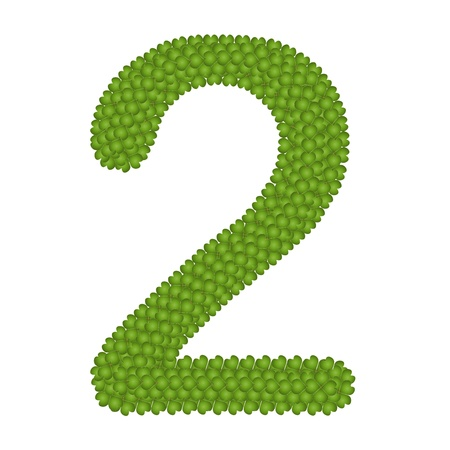 arabische letters: Alfabet Cijfers, Four Leaf Clover met Arabische nummers twee geïsoleerd op witte achtergrond