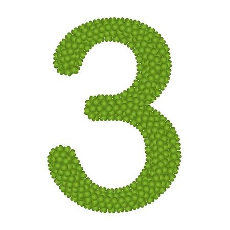 arabische letters: Alfabet Cijfers, Four Leaf Clover met Arabische nummers drie Geà ¯ soleerd op witte achtergrond Stockfoto