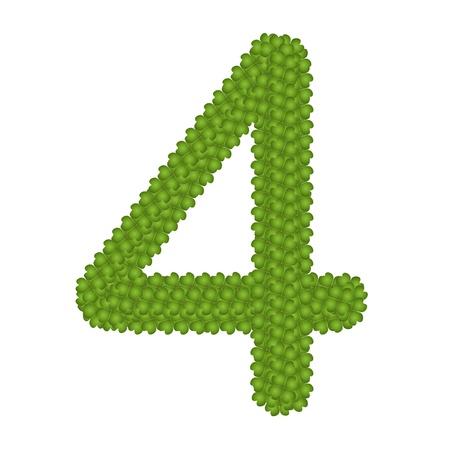 arabische letters: Alfabet Cijfers, Four Leaf Clover met Arabische nummers vier Geà ¯ soleerd op witte achtergrond Stockfoto