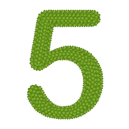 arabische letters: Alfabet Cijfers, Four Leaf Clover met Arabische nummers vijf Geà ¯ soleerd op witte achtergrond