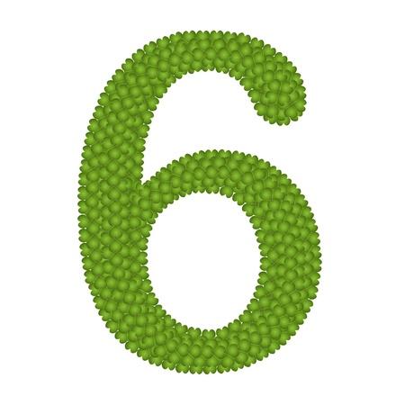 arabische letters: Alfabet Cijfers, Four Leaf Clover met Arabische cijfers Zes Geà ¯ soleerd op witte achtergrond
