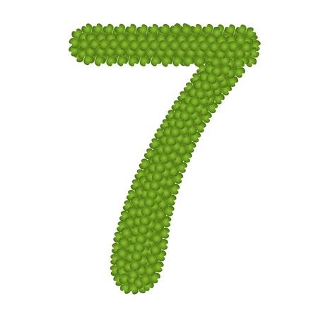 arabische letters: Alfabet Cijfers, Four Leaf Clover met Arabische getallen zeven Geà ¯ soleerd op witte achtergrond