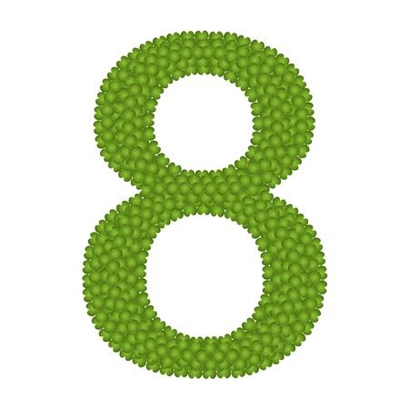 arabische letters: Alfabet Cijfers, Four Leaf Clover met Arabische getallen Acht Geà ¯ soleerd op witte achtergrond Stockfoto