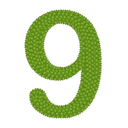 arabische letters: Alfabet Cijfers, Four Leaf Clover met Arabische cijfers Negen Geà ¯ soleerd op witte achtergrond