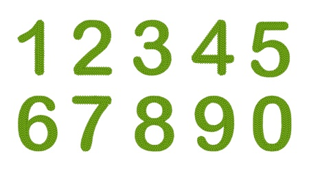 Alphabet Numbers, Four Leaf Clover with Arabic Numbers Zero to Nine Isolated on White Background Stock Photo - 16119443