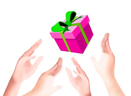 Hand Drawing, People Catching A Falling Gift From The Sky in Christmas or New Year Eve Celebration Stock Photo