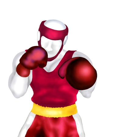knock out: Boxing   Male boxers in Red Suit Standing in Ring Ready for Fighting Isolated on White Background