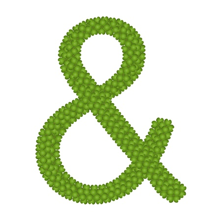 typewriter key: Ecology Concept, Fresh Green Four Leaf Clover Forming Ampersand Symbol Isolated on White Background Stock Photo