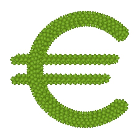 Ecology Concept, Fresh Green Four Leaf Clover Forming European Union Currency Symbol or Euro Sign Isolated on White Background photo